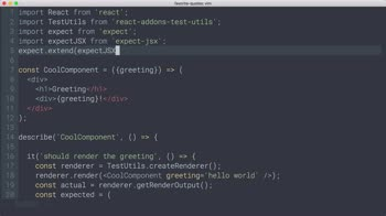 react tutorial about React Testing: JSX error diffs