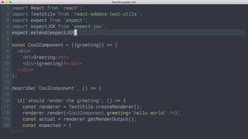 AngularJS tutorial about React Testing: JSX error diffs