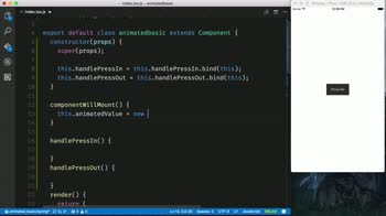 AngularJS tutorial about Animate the Scale of a React Native Button using Animated.spring