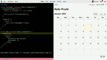 react tutorial about Using React with the FullCalendar jQuery plugin