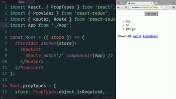 js tutorial about Redux: Adding React Router to the Project