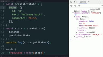 js tutorial about Redux: Supplying the Initial State