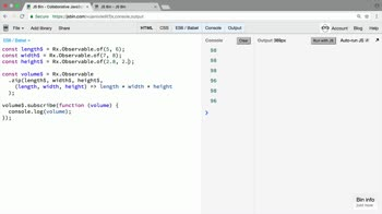 rxjs tutorial about Replace zip with combineLatest when combining sources of data