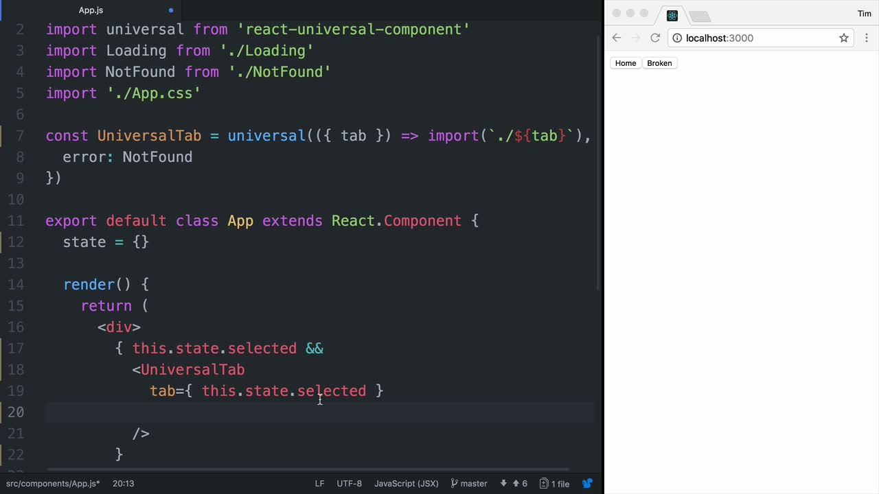 react tutorial about Set an Error Component in React Universal when a Component Fails to Load