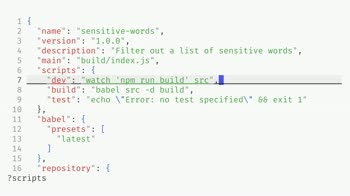 js tutorial about Run builds on file changes using watch with npm scripts