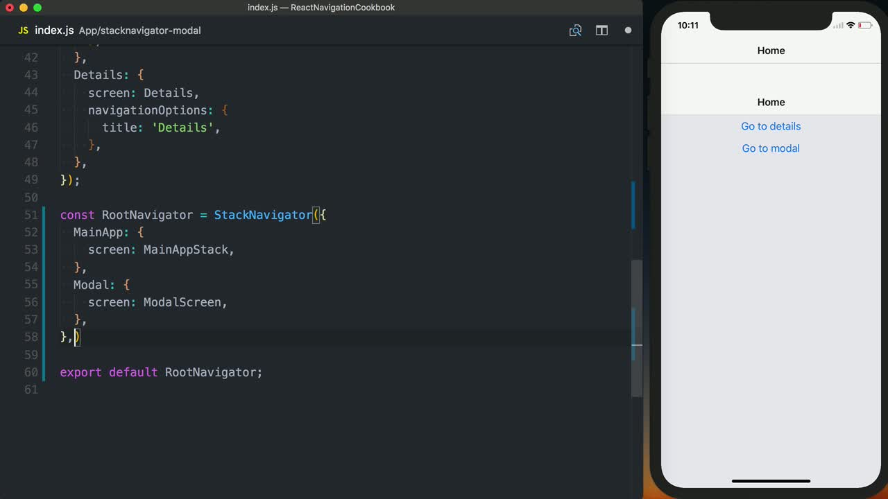 Setup a StackNavigator as a Modal in React Navigation from