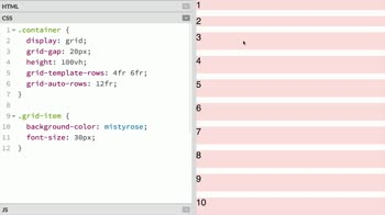 css tutorial about Specify the sizes of implicitly created grid tracks