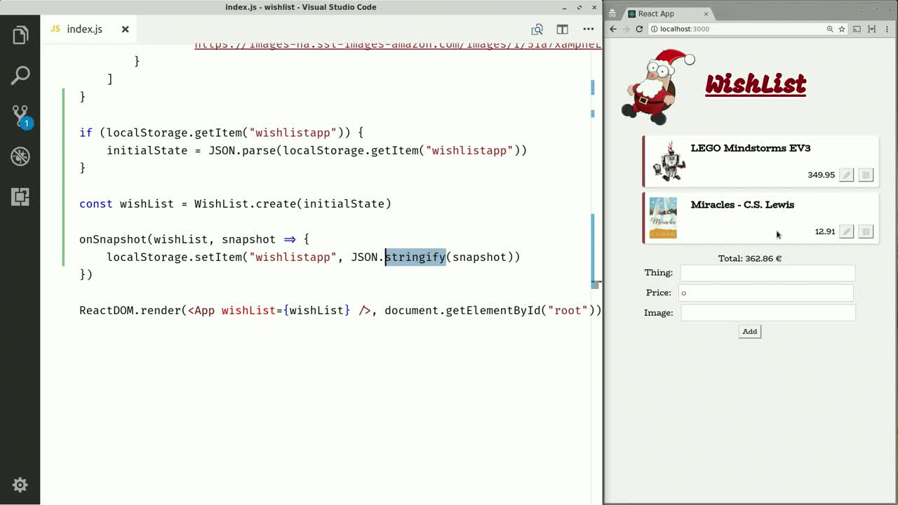 react tutorial about Store Store in Local Storage