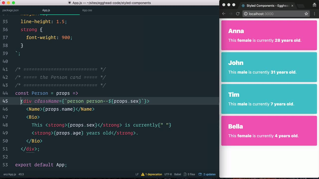 react tutorial about Style a React component with styled-components