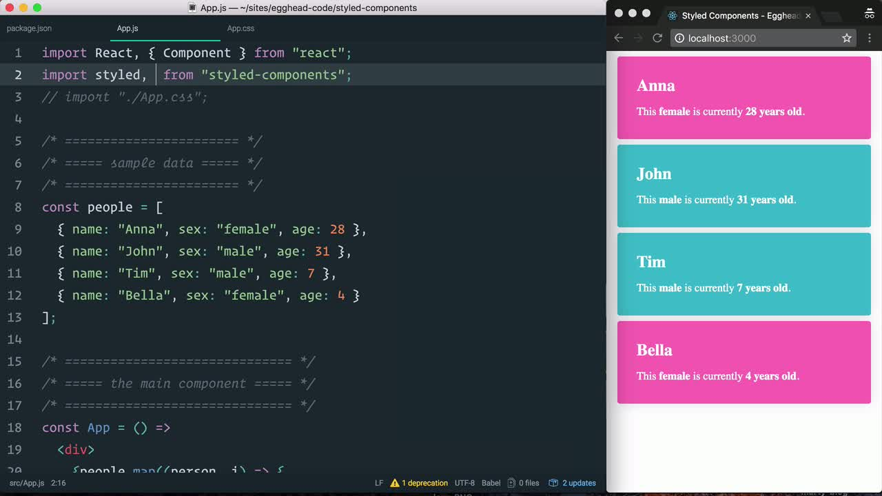 "react tutorial about Style the body element with styled-components and ""injectGlobal"""