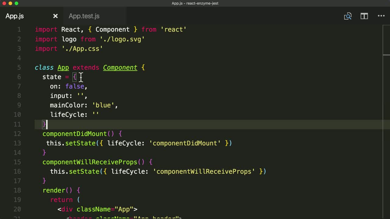 react tutorial about Test React Component Methods with Enzyme