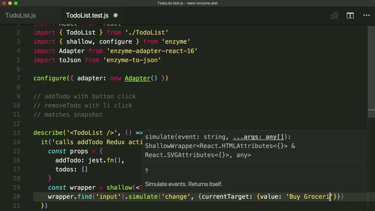react tutorial about Test Redux Connect Components with Enzyme