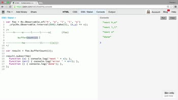 AngularJS tutorial about Transformation operator: buffer