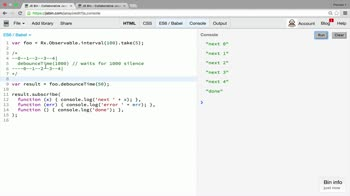AngularJS tutorial about Transformation operators: debounce and debounceTime