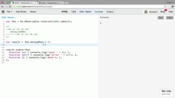 AngularJS tutorial about Transformation operators: delay and delayWhen