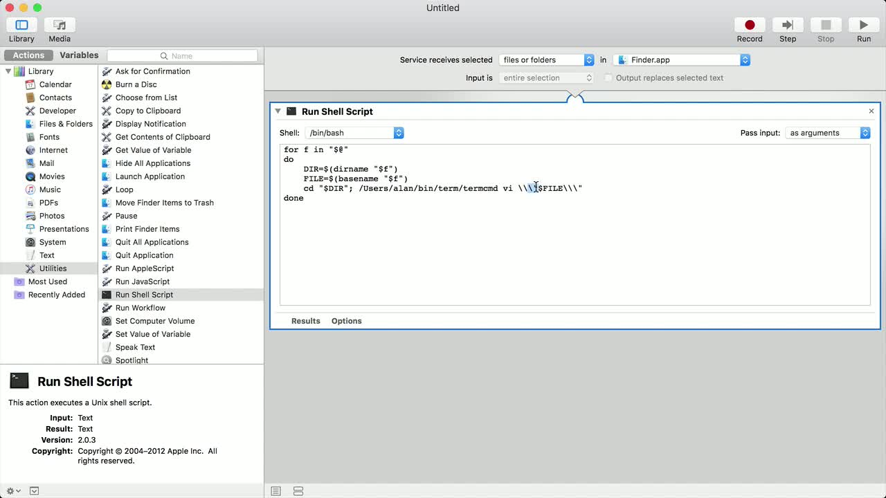Turn a command-line app into a menu item in Finder from @nodename on