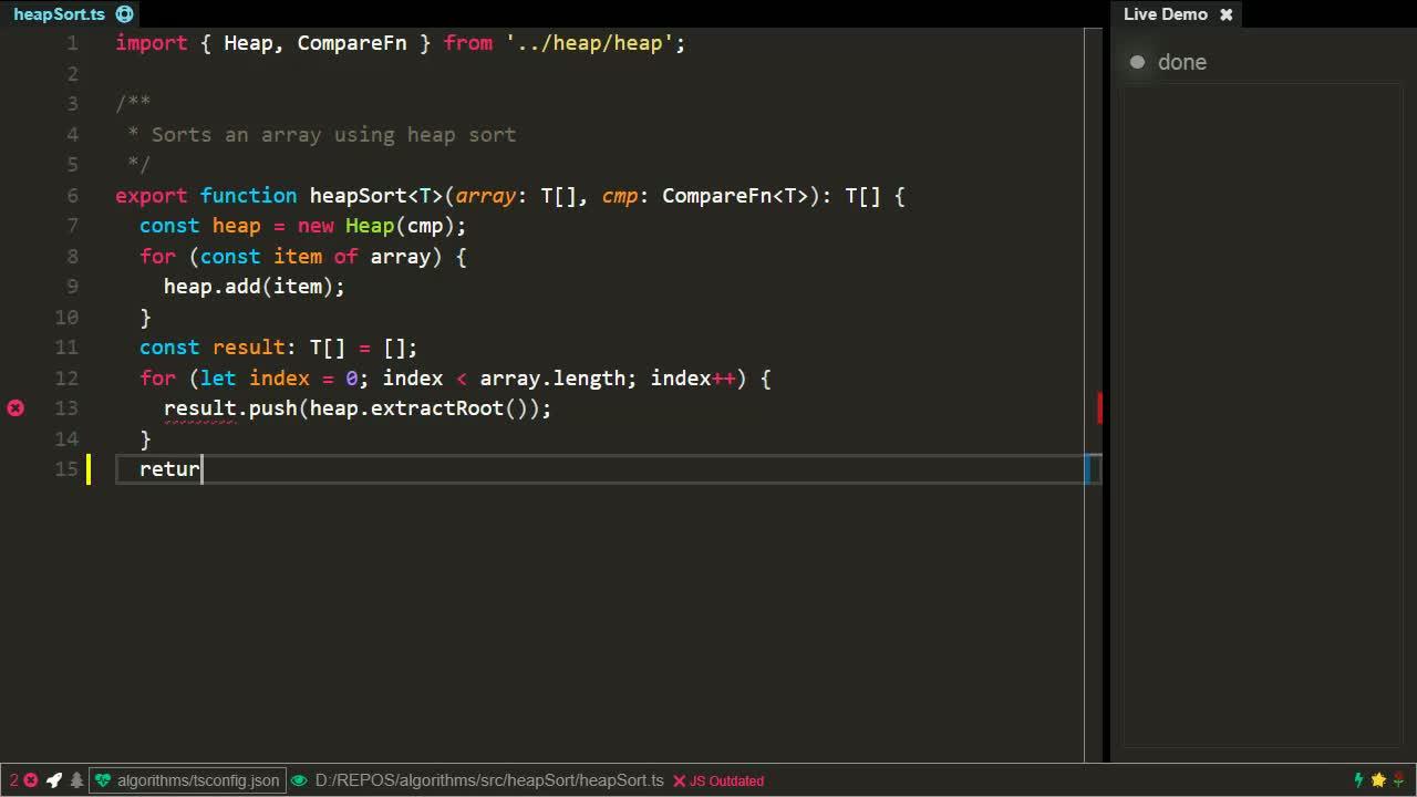typescript tutorial about Implement the Heapsort algorithm using TypeScript / JavaScript