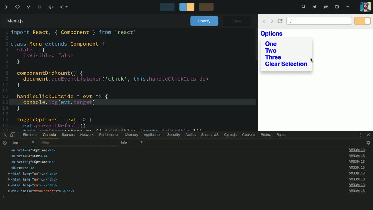 react tutorial about Update React Component State Based on External DOM Events