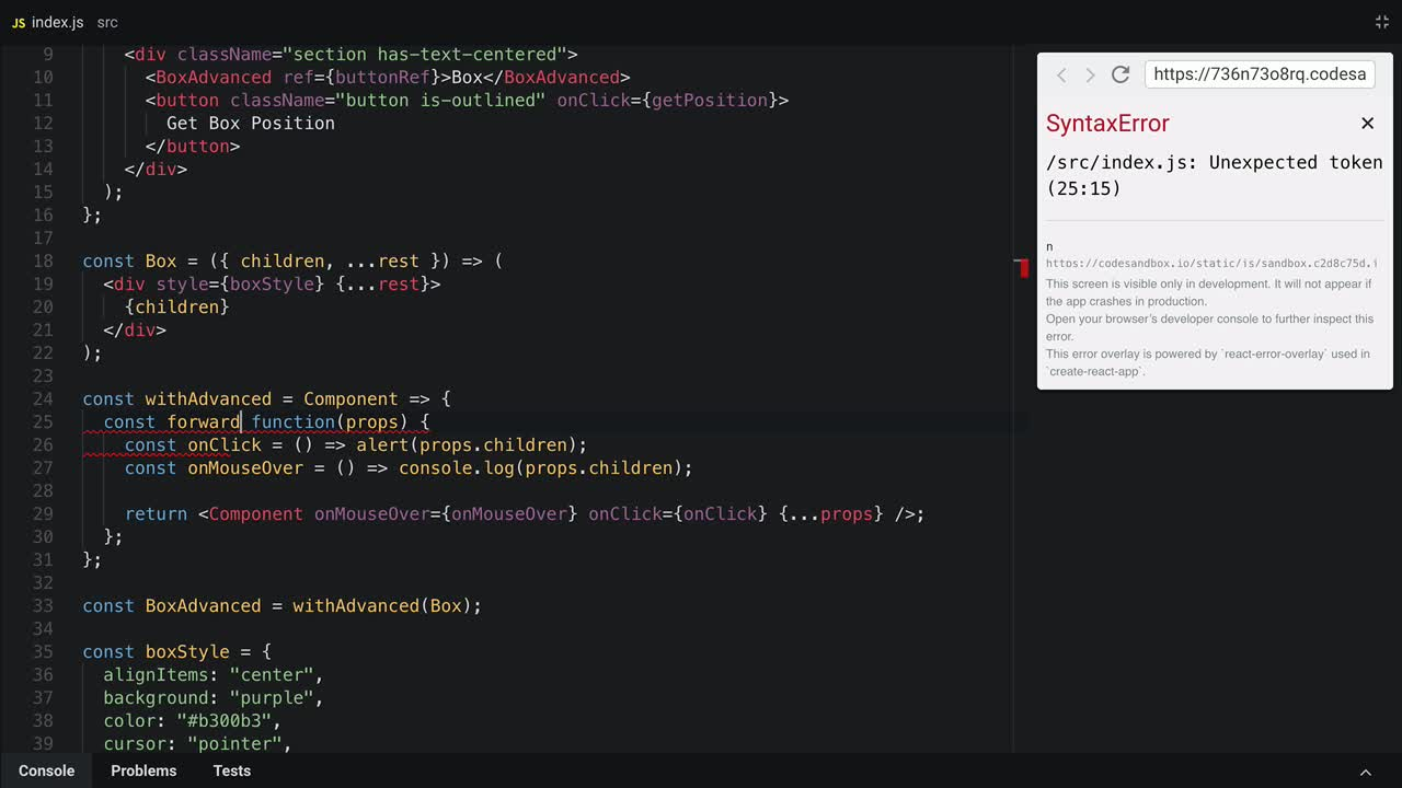 react tutorial about Use forwardRef() in React 16.3
