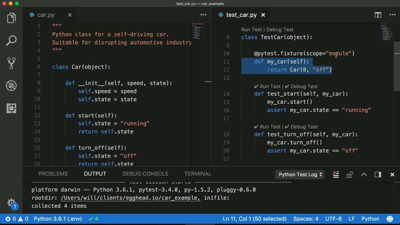 Use pytest fixtures to reduce duplicated code across unit