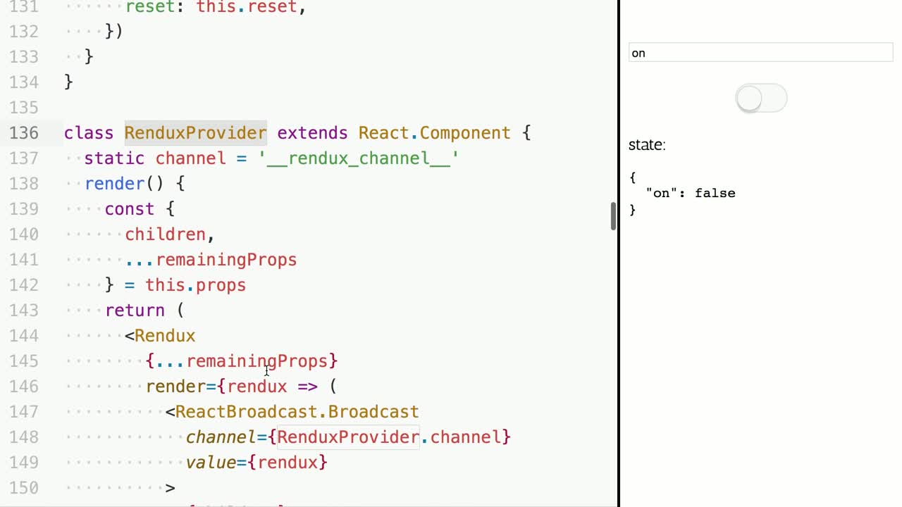 react tutorial about Use Redux with Render Props