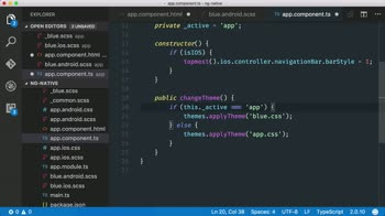 AngularJS tutorial about Use the nativescript-themes plugin to switch app themes on the fly