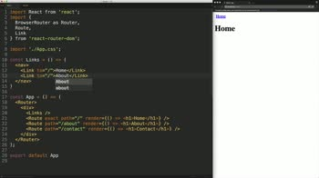 react tutorial about Use the React Router v4 Link Component for Navigation Between Routes