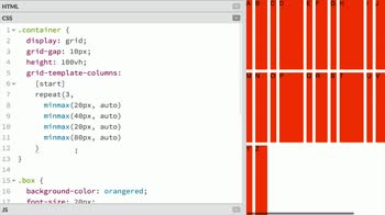 css tutorial about Use the repeat function to efficiently write grid-template values