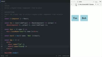 react tutorial about Write a Higher Order Component from Scratch