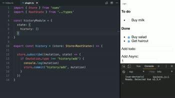 vue tutorial about Write a Vuex Plugin using TypeScript