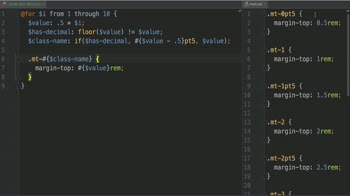css tutorial about Write similar classes with the SCSS @for Control Directive