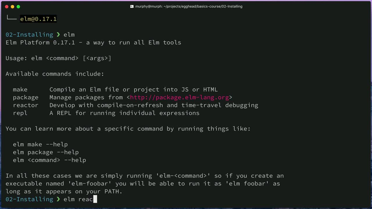 elm tutorial about Install the Elm Platform command-line tools