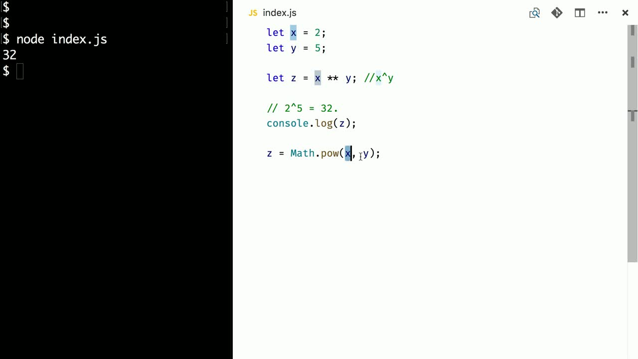 javascript tutorial about Exponent operator in ES2016 - ES7