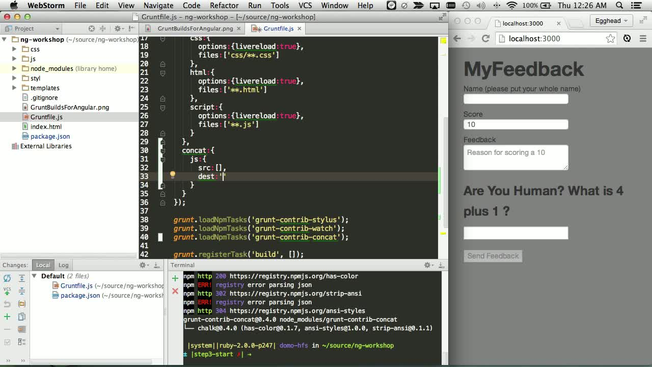 js tutorial about Concatenating Your Javascript with grunt-contrib-concat