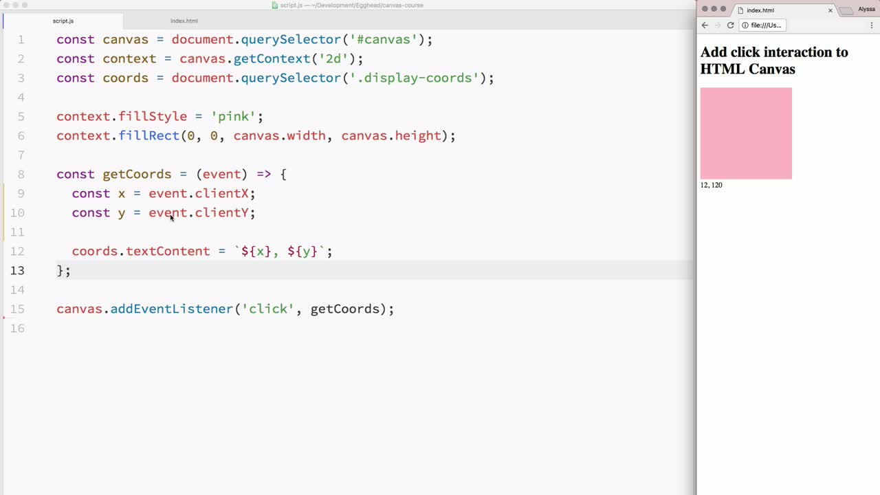 html5 tutorial about Add click interaction to HTML Canvas using JavaScript events