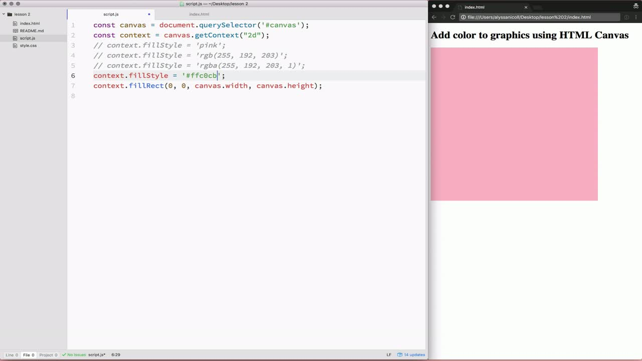 html tutorial about Add color to graphics using HTML Canvas