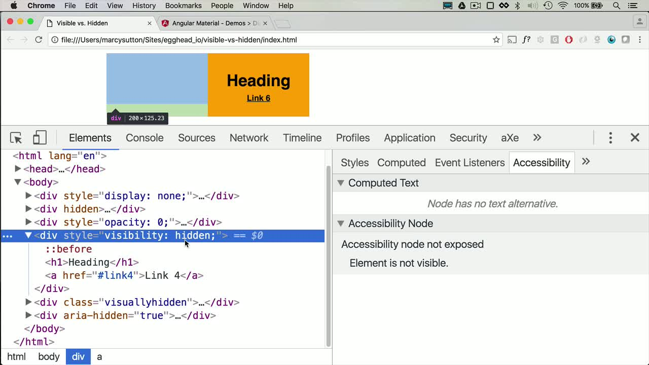 html5 tutorial about How Visible vs. Hidden Elements Affect Keyboard/Screen Reader Users