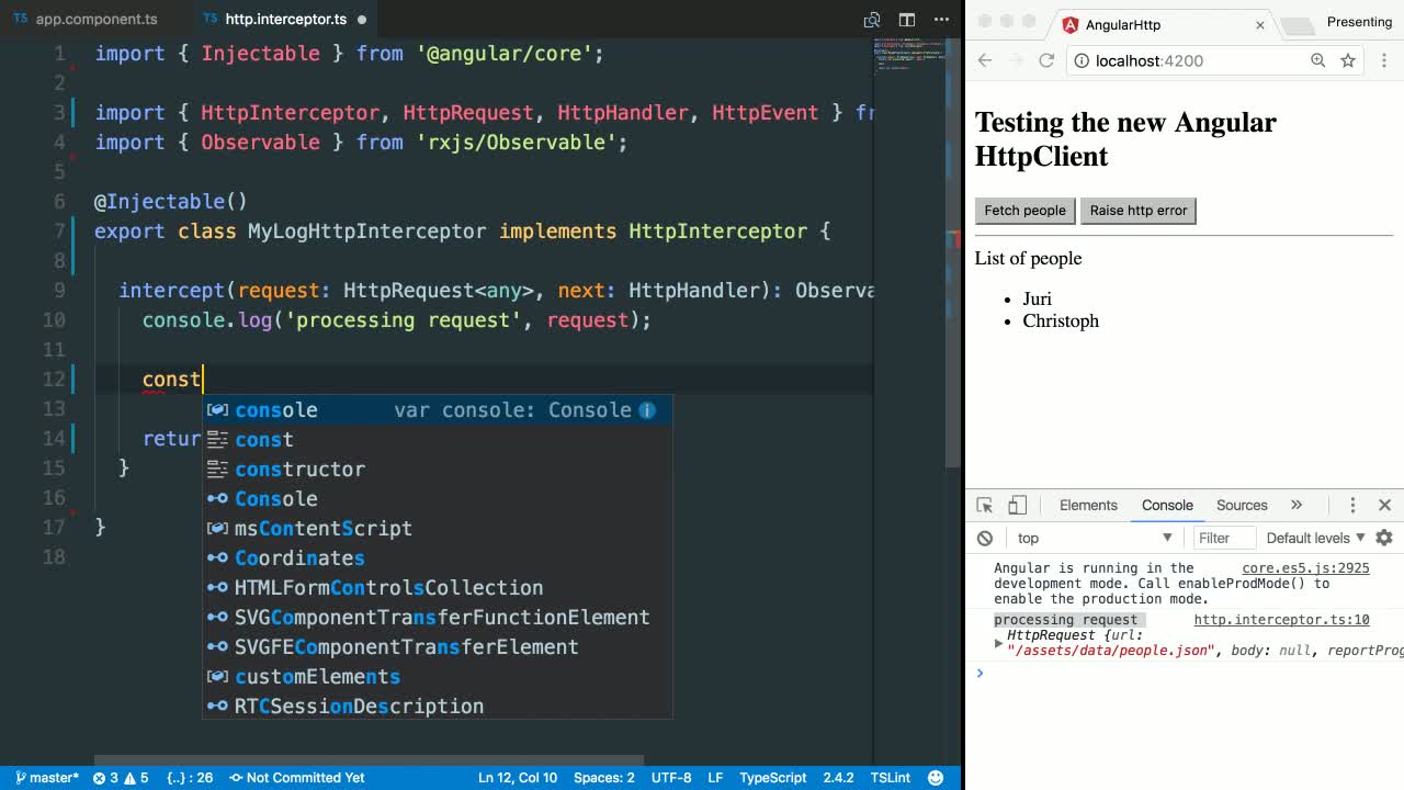 angular tutorial about Intercept HTTP Requests with Angular's HttpInterceptor