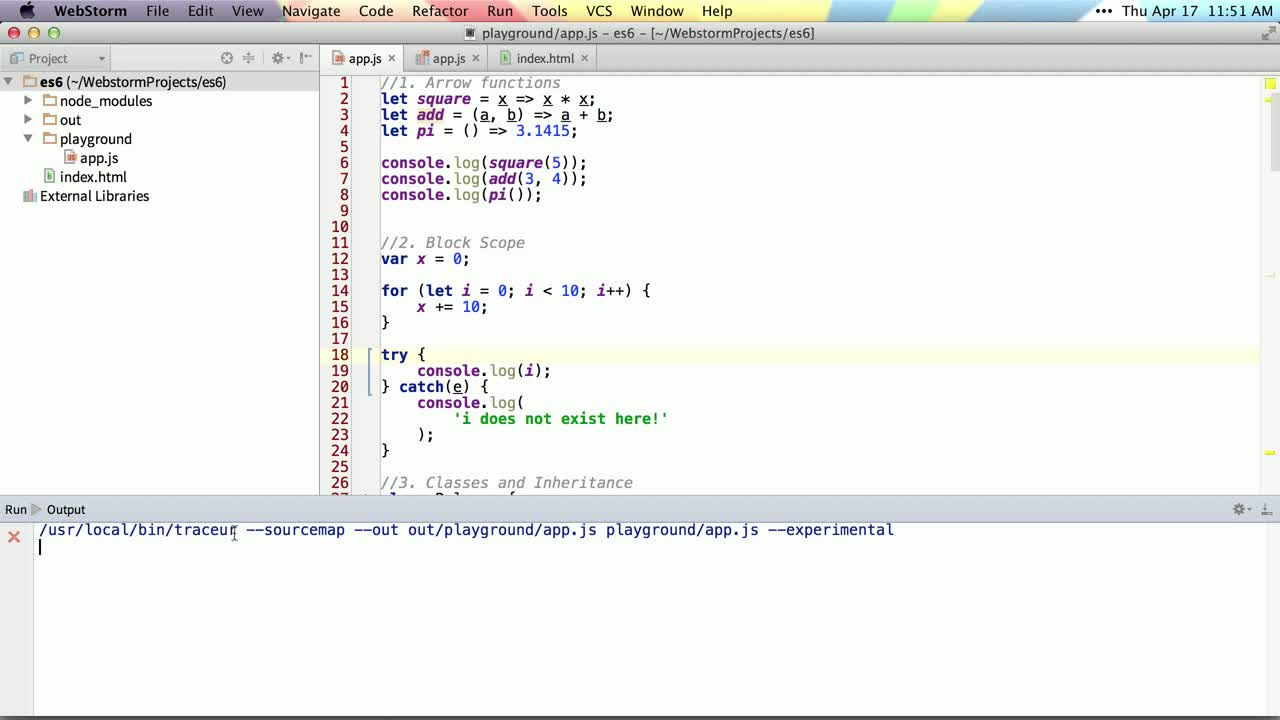 AngularJS tutorial about Intro to ES6 and traceur compiler