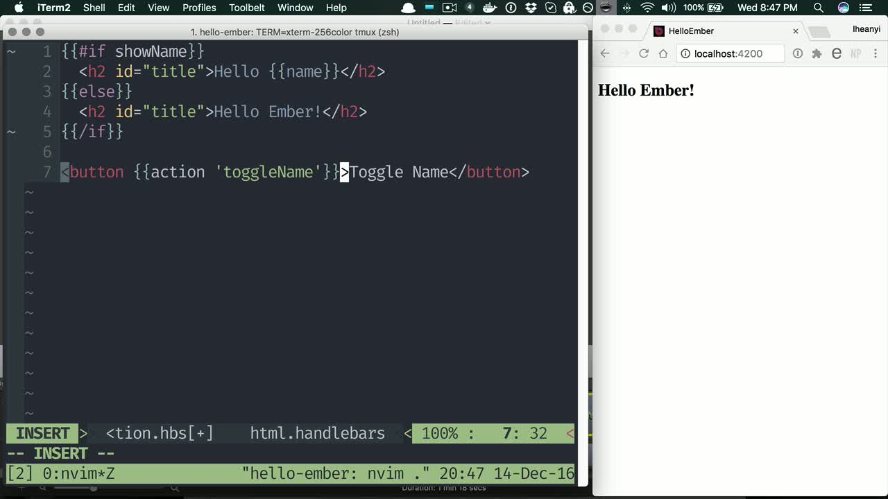 ember tutorial about Add user interaction to Ember.js apps using actions