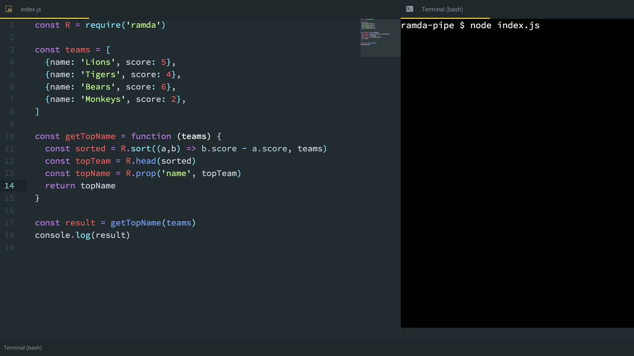 js tutorial about Build a Functional Pipeline with Ramda.js