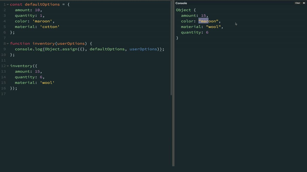 js tutorial about Combine Objects with Object.assign and Lodash merge