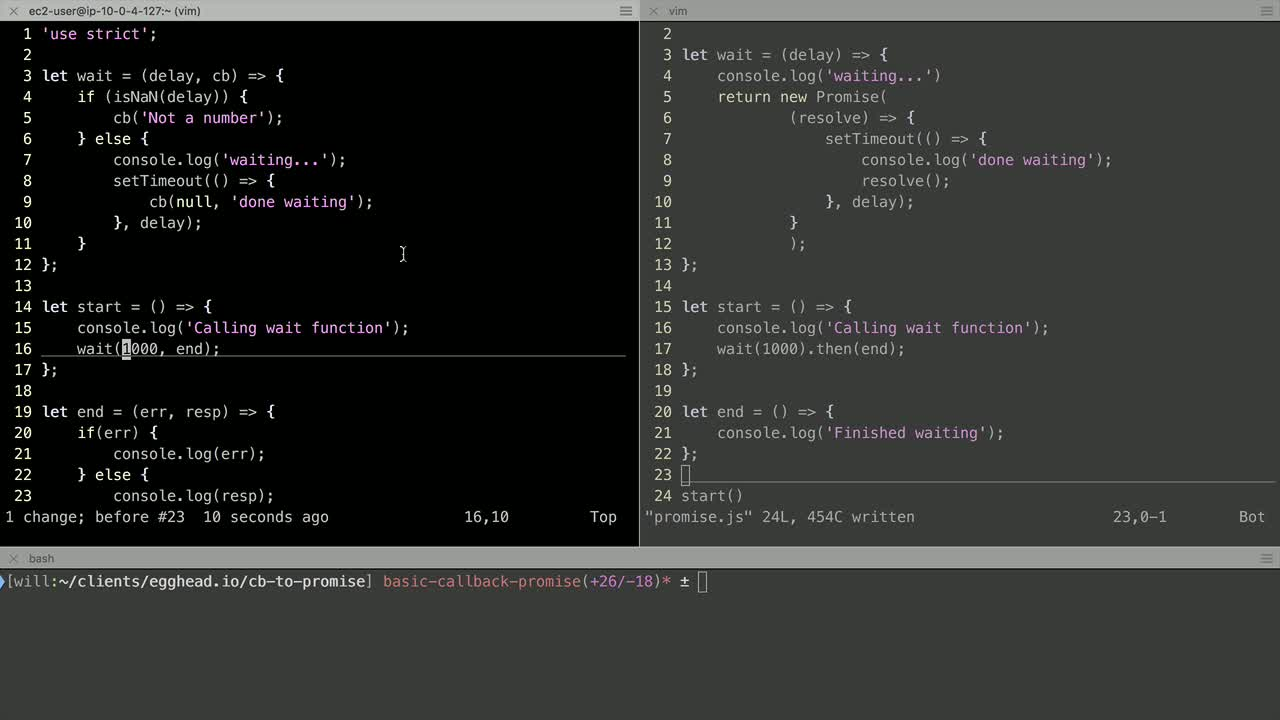 js tutorial about Convert a callback to a promise