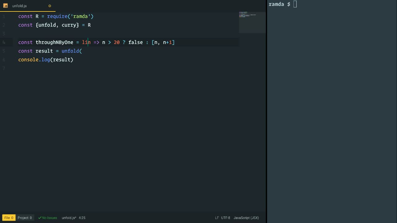 ramda tutorial about Create an Array From a Seed Value with Ramda's unfold