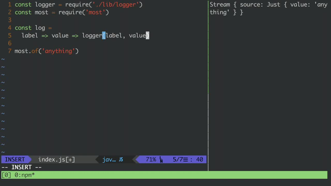 js tutorial about Create Streams From Single Values With Most.js
