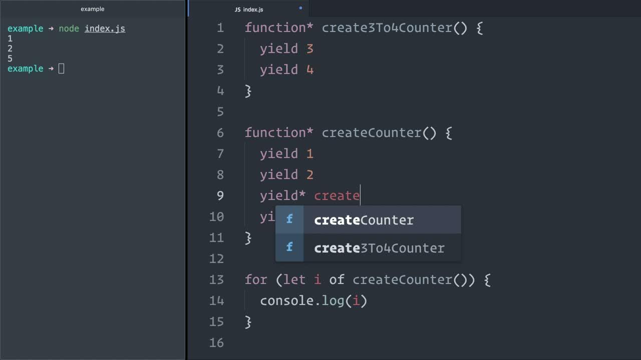 js tutorial about Delegate JavaScript (ES6) generator iteration control