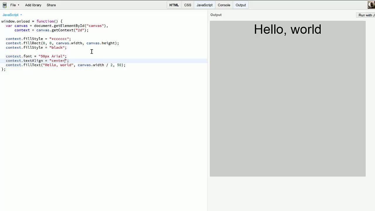 js tutorial about Drawing Text on Canvas