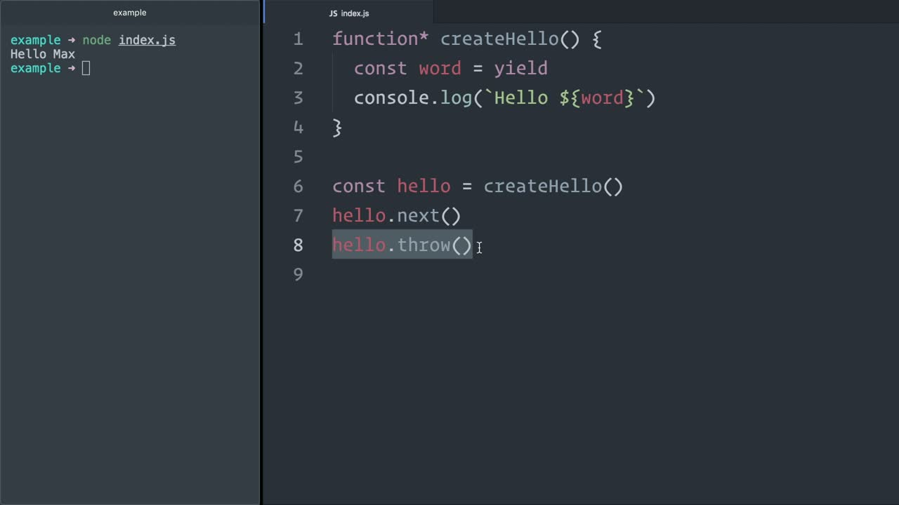 js tutorial about Error handling in JavaScript (ES6) generators