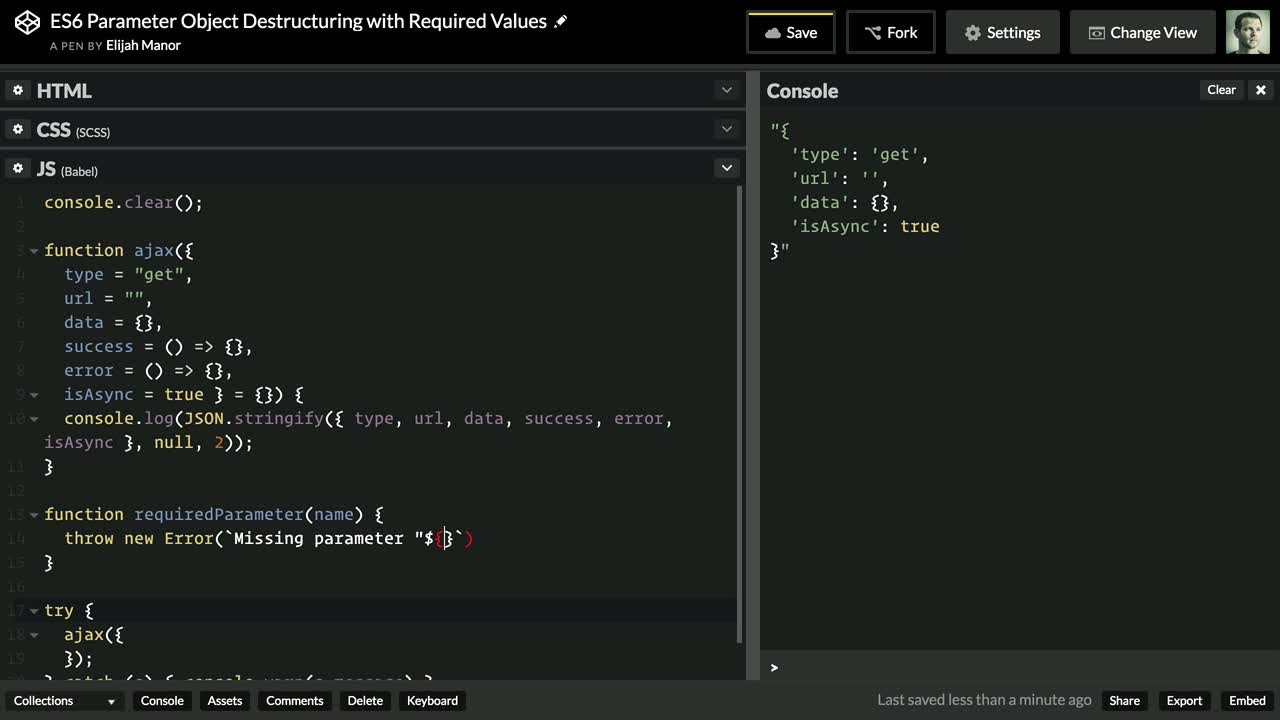 javascript tutorial about ES6 Parameter Object Destructuring with Required Values