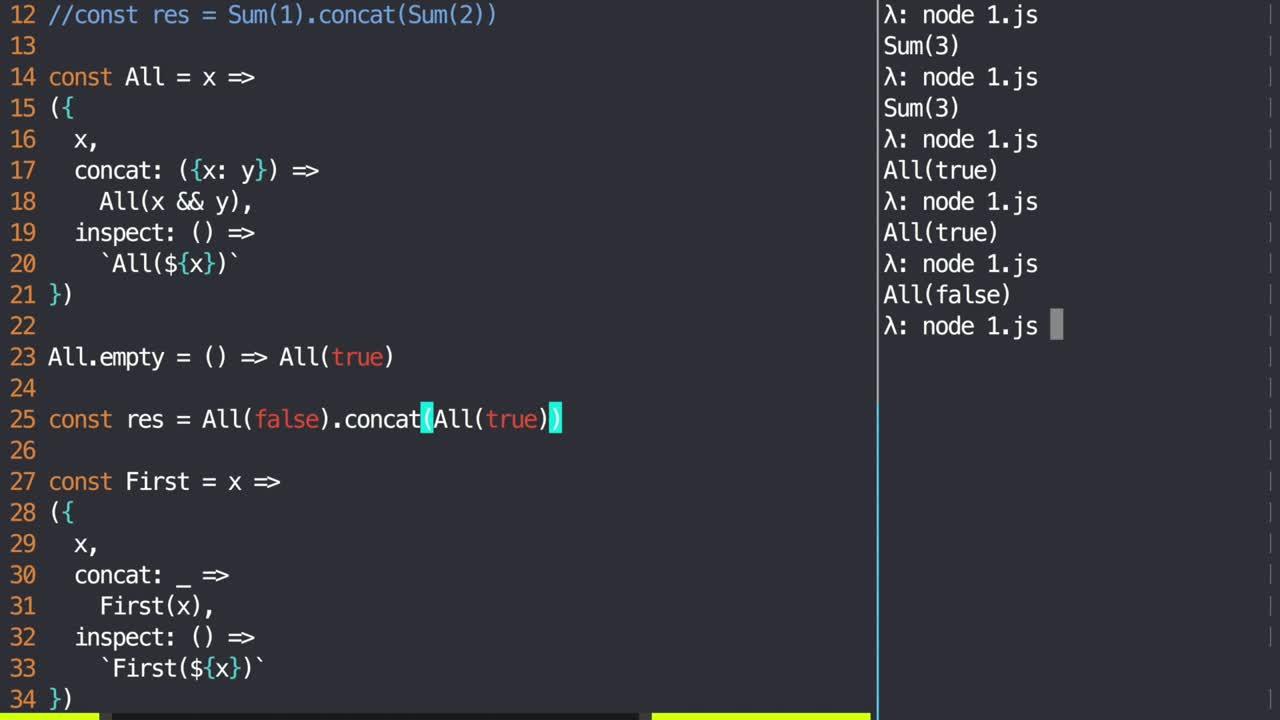 js tutorial about Ensure failsafe combination using monoids